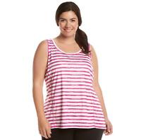 Exertek Women's Plus sport Stripe Tank Top Sleeveless Shirt Blouse 1X 2X 3X