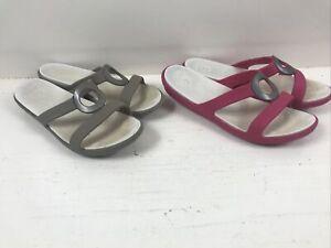 2 Pairs Crocs Sandals Comfort Women's Pink Brown Flip Flop Shoe Size 8W