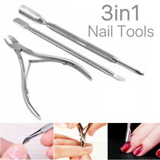 3 Pcs Cuticle Remover Spoon Pusher Nipper Cutter Clipper Trimmer Nail Tools Set