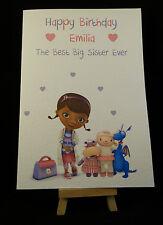Personalised Handmade Doc McStuffins Birthday Card-Girls,Daughter, Granddaughter