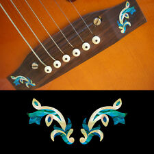 Guitar Bridge Inlay Stickers Decals Traditional (Abalone Blue) 2pcs/set
