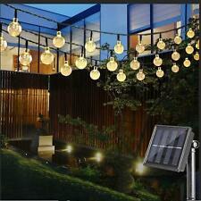 30-100 LED Energía Solar Hada Cadena de Luz 8 modos Bombillas De Jardín Bola De Cristal