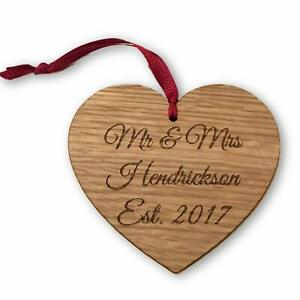 Personalised Wooden Heart Decoration with Ribbon