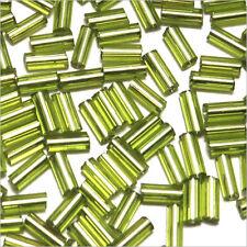 Perles de Rocailles Tubes en verre Trou argenté 4x2mm Vert clair 20g