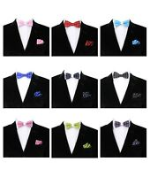 Kids Boys Bow Tie with Pocket Square Pre-tied Polka Dot Satin Dickie Bow Hankie