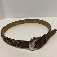 Nocona Western Mens Belt Leather Calf Hair Cross Concho Studded Brown N2496444