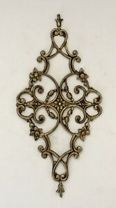 Vintage Brass Floral Pediment Mount Plaque