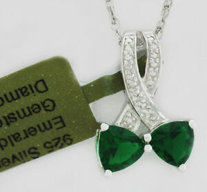 EMERALD & GENUINE DIAMOND PENDANT NECKLACE .925 Silver * NEW WITH TAG *