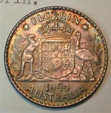 1944 Australia Silver Florin with Nice Color - from Old Estate (950)