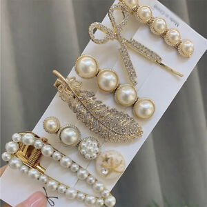 6Pcs/Set Rhinestone Hair Clips Leaves Feather Pearl Hairpins Barrette Hairgrips