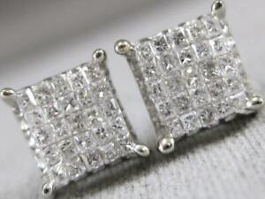 ESTATE .90CTW DIAMOND 14K WHITE GOLD SQUARE CLUSTER STUD EARRINGS 7.5MM #S1446.3