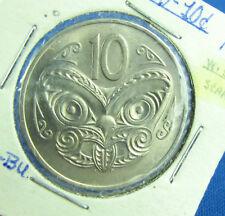 1971 New Zealand 10 cents  UNC BU scrace Sherif on date numerals
