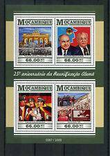Mozambique 2015 MNH German Reunification 4v MS Kohl Berlin Wall Gorbachev Stamps