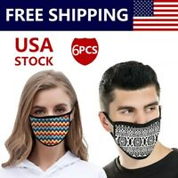 6 Pcs Unisex Cotton Double Layer Face Mask Cover Reusable Washable Made In USA
