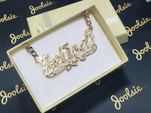 PERSONALIZED 18K GOLD PLATED SINGLE NAME PLATE , ANY NAME FREE CHAIN * FREE SHIP