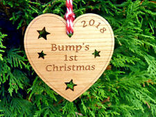 """""""Bump's 1st Christmas"""" Tree Decoration Bauble: First Heart Pregnancy Decoration"""