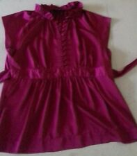 APT.9 bnwot 12 14 SATIN TOP BLOUSE cap slv DARK CERISE PINK stand up ruffle coll