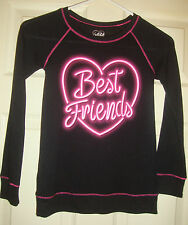 JUSTICE~girl's~BEST/FRIENDS/SILK/SCREEN/LONG/SLEEVED/TOP! (7) BRAND/NEW! @ CUTE!