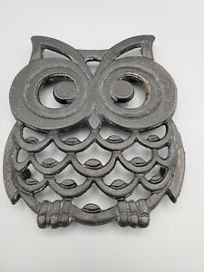 Vintage Black Cast Iron Owl Trivet Taiwan