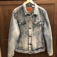 Levis Mens Stonewashed Trucker Jean Jacket XL Vintage Look Distressed Light Wash