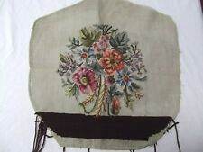 vtg antique needlepoint canvas floral prework unfinish 19x19 chair cushion seat