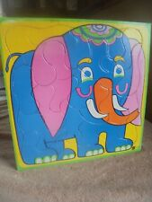 Vtg Colorful Bright 1972 Elephant Tray Puzzle Japan Crayon Board On Back