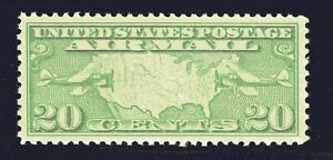 U.S. STAMP #C9 20c MAP AIRMAIL — XF-SUPERB - UNUSED - GRADED 95