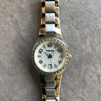 Fossil Womens AM4183 Gold Silver Crystal Dial Stainless Steel Wristwatch Bin W