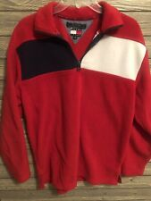Retro Vintage Tommy Jeans 1/4 zip fleece Mens Small flag red white blue pullover