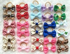 100/set Handmade Designer Pet Dog Accessories Grooming Hair Bows & Rubber Bands