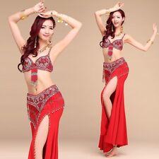 Belly Indian Dance Suit Costume Bra Top Belt Hip Scarf Skirts Wrap Carnival UK