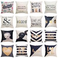Simple Letters Vintage Pillow Case Sofa Waist Throw Cushion Cover Home Decor