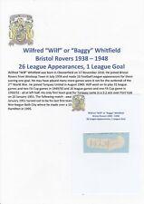 Wilf WHITFIELD Bristol Rovers 1938-1948 RARA Originale Firmato a Mano Taglio/Card