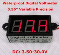 Waterproof Digital LED DC Gauge Volt Meter Voltmeter Panel 12V 24V car Battery
