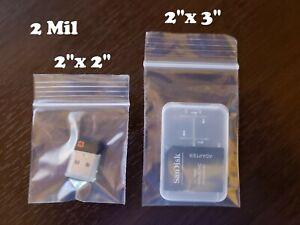 "Clear Small Zip Seal Top Lock 2""x 2"" 2""x 3"" Plastic Bags 2Mil Jewelry Baggies"
