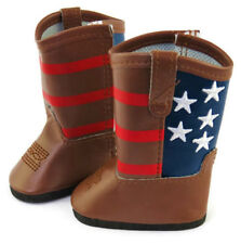 Doll Shoes for American Girl Doll Clothes-Patriotic Brown Western Cowboy Boots