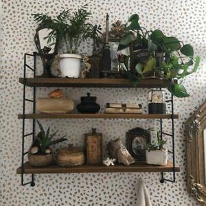 Heavy Duty Iron Frame Adjustable Wood Floating Shelf Bookshelf Wall Storage Unit
