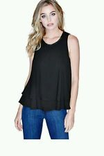 NWT GUESS BY MARCIANO BLACK Jada Sleeveless Flutter Tank top SIZE XS