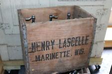(6)Henry Lascelle Pure Seltzer Water antique/vintage bottle w/crate Marinette WI