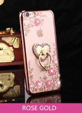 Luxury Bling Clear Case Cover With Crystal Ring Holder For iPhone ALL MODELS