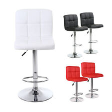 Set of 2 Bar Stools PU Leather Adjustable Height Dining Swivel Pub Counter Chair