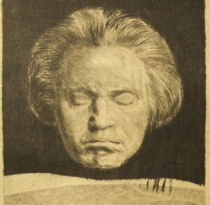 Arthur Paunzen pencil signed original etching; Beethoven Phantasien 1918