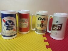 Set of 4 Vintage Thermo Serv 16 Oz Plastic Mugs Pabst Budweiser Coors Schlitz