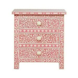 Bone inlay Pink Floral 2 drawer bedside lamp table (MADE TO ORDER)