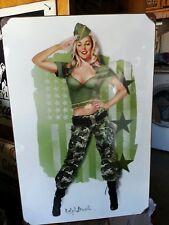 """US Marine girl sexy metal sign  12x18""""    pin up girl  USMC"""
