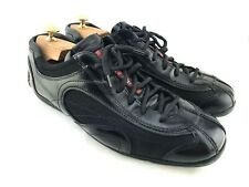 PRADA Men's 8.5 / 9.5 US Casual Sneakers Shoes Black Leather 4E 1226 Lace Up