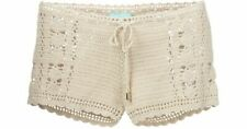 Melissa Odabash Womens Alicia Crochet Drawstring Shorts Beige L New