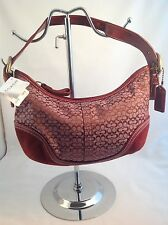 "NWT AUTHENTIC Coach Signature ""C"" Rare Burgundy Hobo Shoulder Bag Beautiful!"
