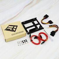 "Dual SSD HDD Mounting Bracket 2.5 to 3.5"" Internal Hard Disk Drive Kit Cables"