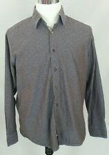 Pronto Uomo Mens Shirt Sz Large Long Sleeve Button Front Brown Blue Floral